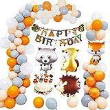 MMTX Animaux Anniversaire Décoration Enfant, Woodland Joyeux Anniversaire Bannière 40 Ballon En Latex avec Feuille Animal Ballon pour Garçon Fille Douche D'anniversaire