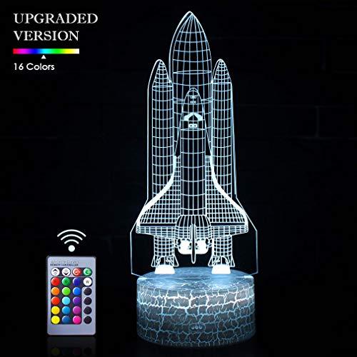 Raket Nachtlampje 3D Illusie Lamp LED Space Shuttle Nachtlampje 16 Kleur Veranderende Touch Sensor Bureau Tafellamp met USB Kabel Decoratie voor Kwekerij Slaapkamer Kids Jongens Verjaardagscadeaus