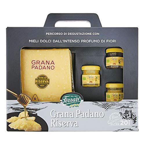 nella confezione trovi: Parmigiano reggiano 600 gr 3 barattoli di miele: miele di fiori di bosco-miele di arancio-miele di fiori