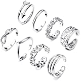 8PCS Open Toe Rings Set for Women Hypoallergenic Adjustable Flower Knot Simple Arrow Fingers Joint Tail Ring Band Sandals Foot Jewelry