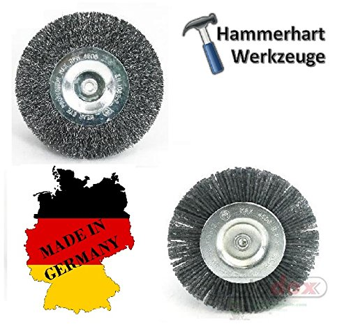 2-er Set Fugenbürsten Ersatz Rundbürste 1x Stahldraht und 1x Kunststoffborsten - Made in Germany - passend für SKIL WEED brush Weedbuster Urban Series 500 Watt Ersatzbürsten