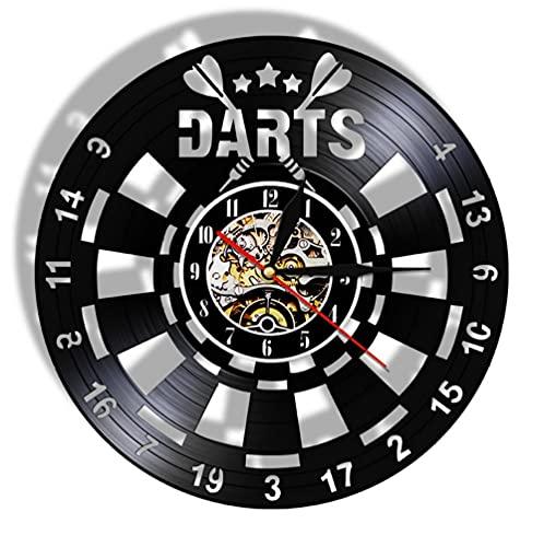 Reloj De Pared Juego de Dardos Pub Reloj de Pared con Registro de Vinilo Hombre Cueva Sala de Juegos Decoración Reloj de Pared Retro Tablero de Dardos Bar Club Signo de Pared (30cm)