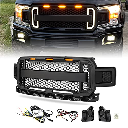 Modifying Raptor Style Grille Mesh Grill, Compatible with Ford F150 F-150 2018 2019 2020, With DRL & Turn Signal Lights - Matte Black