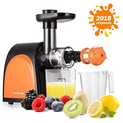 Masticating Juicer, Slow Juicer, Cold Press Juicer with Juice Cup,  Pulp Cup and Cleaning Brush, Juicer Machine for High Nutrient Fruit and Vegetable Juice