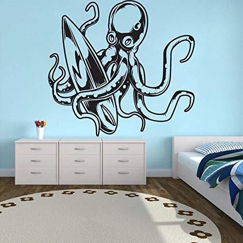 Pegatinas de pared Adhesivos Pared Calcomanía de vinilo de pulpo de dibujos animados decoración de habitación de niños surf decoración del hogar tabla de surf Mural de deportes acuáticos 84x90cm