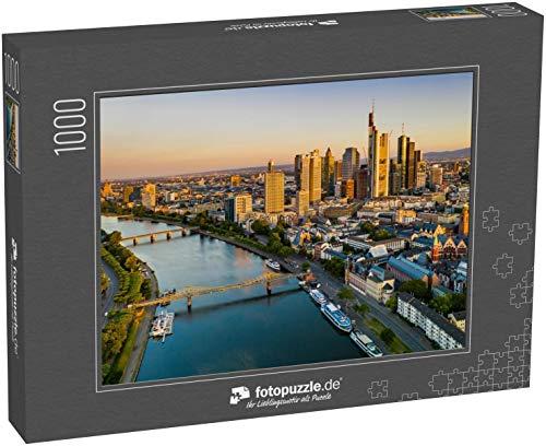 fotopuzzle.de Puzzle 1000 Teile Frankfurt am Main. Stadtbildaufnahme von Frankfurt am Main bei Sonnenaufgang. Serielle Ansicht