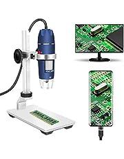 Jiusion HD 2MP USB Digitale Microscoop 40-1000X Draagbare Vergroting Endoscoop Camera met 8 LEDs Aluminium Stabiele Stand voor OTG Android Mac Windows 7 8 10 Linux