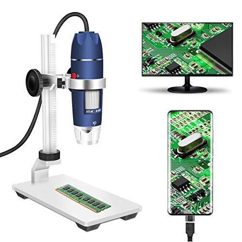 Jiusion HD 2MP USB Digitalmikroskop 40 - 1000X Tragbare Vergrößerungs-Endoskopkamera mit 8 LEDs Stabiler Ständer aus Aluminiumlegierung für OTG Android Mac Windows 7 8 10 Linux