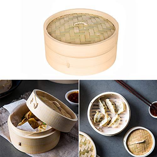 XIAMUSUMMER Dampfgarer Küche Bambus – Dampfkorb aus Bambusholz – Dampfgarer Rolle Frühling, Wonton, Dim Sum, Boilies, Fleisch, Huhn, Fisch, Gemüse, groß