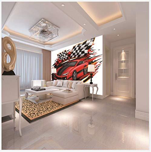 Fotobehang, vlies, 3D-effect, auto, rood, cartoon, wanddecoratie, wandafbeelding, foto, zelfklevend, voor slaapkamer, hal 150CMx100CM