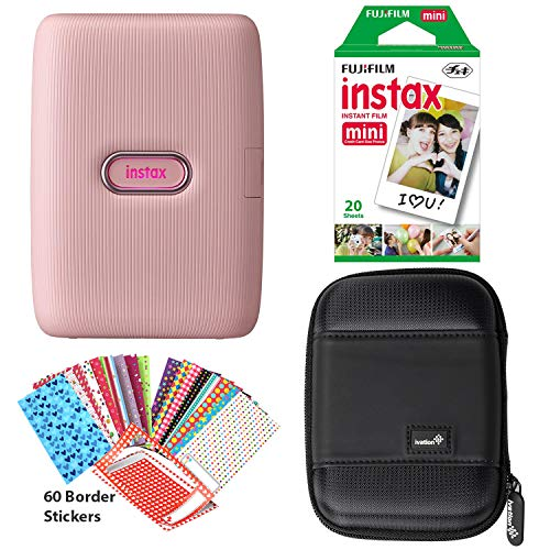 Fujifilm Instax Mini Link Smartphone Printer (Dusky Pink), Instant Film 20 Sheet Pack, 60 Border Stickers and Carrying Case