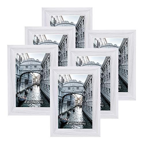 Metrekey Bilderrahmen 10x15 cm Set 6 Holz Weiß Vintage Glas Fotorahmen Portraitrahmen mit Halterung und Haken für Tischplatte und Wanddekoration