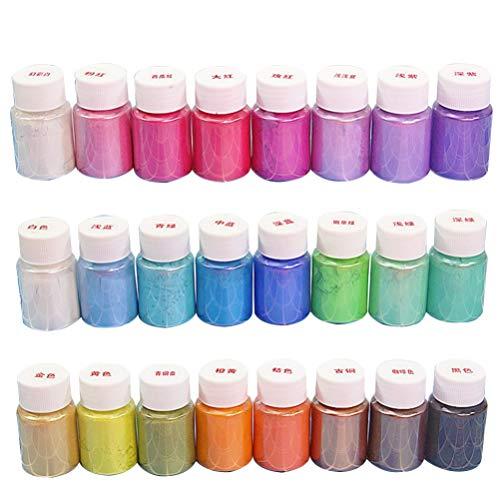 EXCEART 24Pcs 10G/Garrafa Garrafa de Mica Em Pó Glitter Em Pó Pintura DIY Set Cores Sortidas Organizado