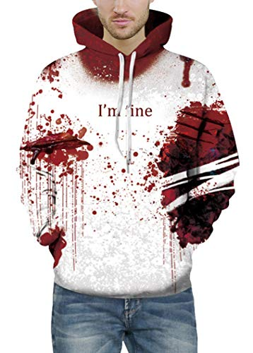 Prettyard Men Women Hip Hop Dark Bloody Red I'm fine Saying White Hoodie Sweatshirt - US(Men:M = Women:12-14/L) IgnoreOurTag