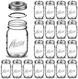 Regular Mouth Glass Mason Jars, 16 Ounce (20 Pack) Glass Canning Jars with Silver Metal Airtight...