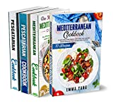 Mediterranean Pescatarian Diet Cookbook: 4 Books In 1: 280 Recipes For Preparing Healthy Food Fish And Seafood (English Edition)