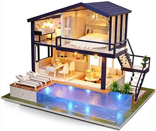 La Vida en Led DIY Casa de Muñecas con Piscina Miniatura Puzzle 3D con luz y música (Casa DIY Piscina)