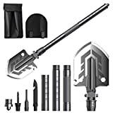 BEBEGO Ultimate Survival Tool Folding Shovel, Military Tactical Shovel, Portable Camping Shovel for Outdoor Survival, Hiking, Hunting, Expedition, Gardening, Car Emergency