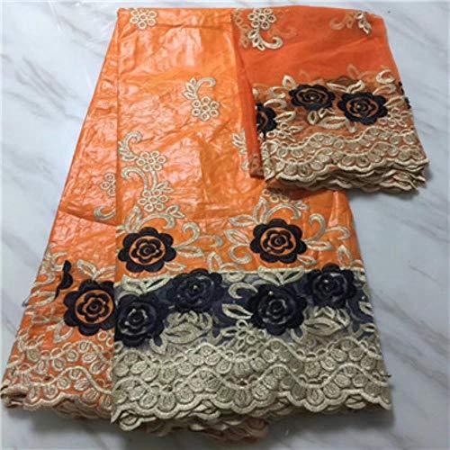 PENVEAT Afrikanischer Stoff gelbe Farbe 100% Baumwollmaterial Perle afrikanischer Stoff Bestickt Brautkleid Basin, PL1500731B303