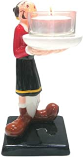 WL 6 Inch Olive OYL Holding Candle Collectible Painted Ceramic Tea Light