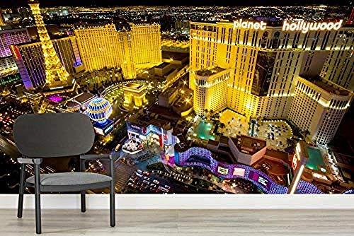 ZZXIAO Las Vegas Lichter Wandbild wandpapier fototapete 3d effekt tapete Wohnzimmer Schlafzimmer Hintergrundbild-200cm×140cm