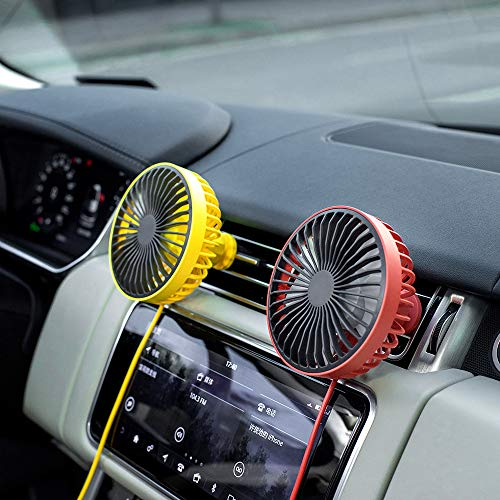 HOPEME Car Cooling Fan with 360° Rotation and Adjustable 3 Speed, Quiet Air Vent Mounted 5V USB Amplifier Cooling Fan with Mood Light for Vehicle Van Truck (Yellow)
