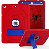 ZoneFoker iPad 8th/7th Generation Case, iPad 10.2 Case 2020/2019, Heavy Duty Shockproof Protective Tri-Layers Hybrid iPad Cover for Kids with Stand for Apple iPad 10.2 inch (RED+Blue)