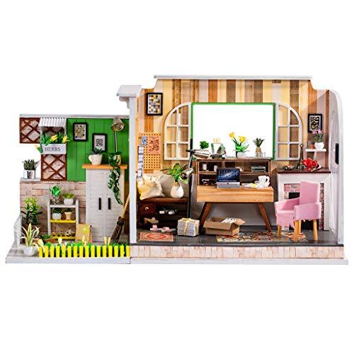 Gpure Casa de Muñecos Madera DIY 3D Juegos De Construcción con Muebles y Accesorios para Niños Juguetes Maqueta De Fiesta Divertido Regalos De Cumpleaños Un Rincón del Trabajo De Adornes
