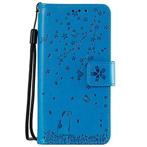 Miagon Gaufrage Coque pour Samsung Galaxy S9 Plus,Rétro Emboss Flip Housse Coque Etui PU Cuir Chat Papillon Fleur Supporter Magnétique Case,Bleu