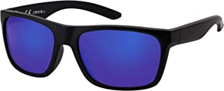 La Optica B.L.M. - La Optica Gafas de Sol LO8 UV400 Deportivas da Hombre y Mujer, Mate Negro (Lentes: azzul espejada)