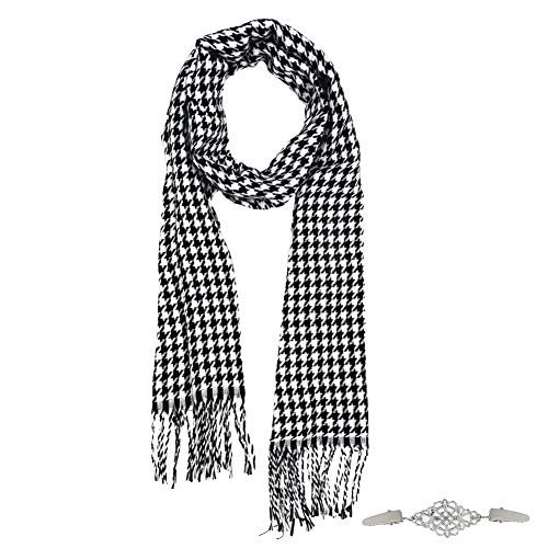 Tartan Scarf, Houndstooth Scarf Soft Comfortable Multiuse Long Scarf for Women Men in Autumn Winter Spring 1pcs, with Clip Brooch 1 pcs