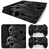 PS4 S Skin for Playstation 4 Slim Console and Controllers, PS4 Slim Whole Body Vinyl Skin Sticker Decal Cover - Black Skull