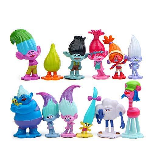 Troll Poppy Branch Harper Guy Diamond Cooper Figura de acción Juguetes Set para muñecas Modelo PVC (12PCS)