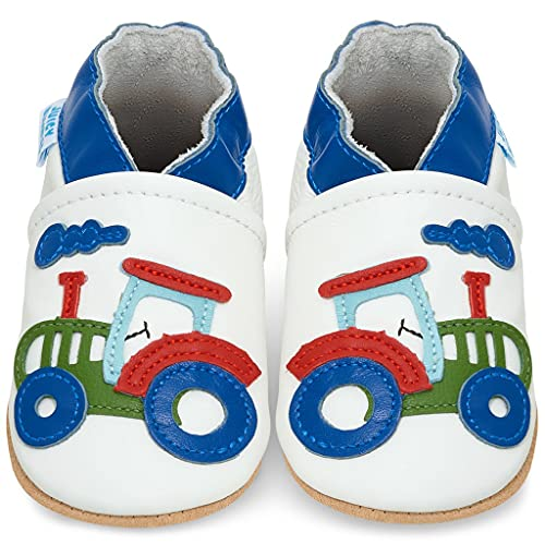 Soft Leather Baby Shoes with Suede Soles - Toddler Shoes - Infant Shoes - Pre Walker Shoes - Crib Shoes - Tractor
