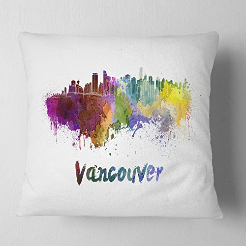 Designart Vancouver Skyline Cityscape Throw Living Room Sofa Pillow Insert Cushion Cover Printed On Both Side 26 In X 26 In Shefinds