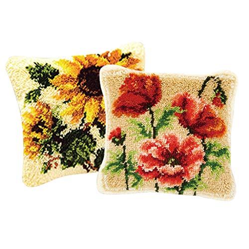 Juego de Ganchos de Flores de Dailymall para cojín, diseño de búho, para Hacer Manualidades y Ganchillo, Bordado de Rosas y Girasoles, 2 Unidades