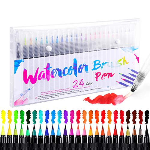 Brush Pen Set Pinselstifte 24 Farben Aquarellstifte mit 1 Wassertankpinsel Water Color Echter Kinder Zeichnen Malen Kalligraphie Beschriftung Stift for Anfänger Erwachsene Linker Hander Bullet Journal