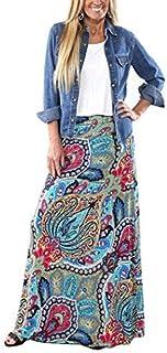تنورة ماكسي طويلة بطبعة بوهيمية للنساء من ينجيلي