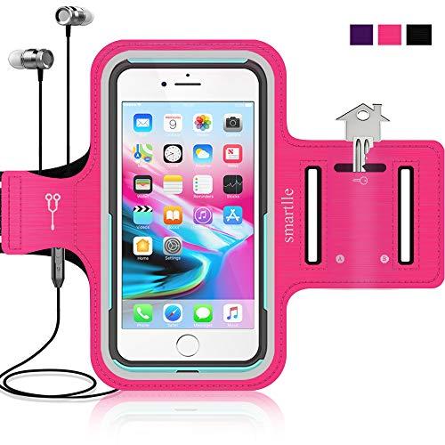 Smartlle Brazalete deportivo para iPhone 12 11 Pro Max/XR/XS MAX/8 7 6S Plus, Samsung Galaxy A/S20/S10 Plus/Note, teléfonos de hasta 6,9 pulgadas, para correr, entrenamiento y correr, color rosa