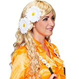NET TOYS Margeriten Haarblumen Hippie Ansteckblumen 2er Set 70er Jahre Blumenanstecker Flower Power...