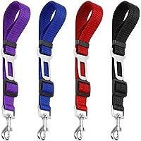 4Pack cinturón de seguridad ajustable perro de mascota gato, yucool seguridad Leads vehículo coche arnés asiento Tether, nailon textil negro, azul, rojo, morado