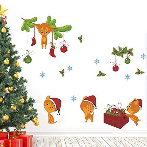Calcetines de navidad Sombrero Gato Etiqueta de La Pared Campana Copo de nieve Año Nuevo Decoración de Navidad Tatuajes de Pared Arte Mural Tienda Tienda Decoración de la ventana