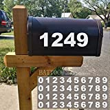Mailbox Numbers Sticker Decal Die Cut Bold Gothic Style Vinyl Number 2' Self Adhesive 4 Sets White for Mailbox, Signs, Window, Door, Cars, Trucks, Home, Business, Address Number, Indoor or Outdoor