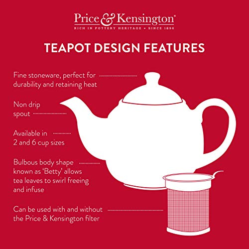 Price & Kensington White 6 Cup Teapot, Multicolour