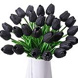 Veryhome Künstliche Blumen Gefälschte Blume Tulpe Latex Material Real Touch für Hochzeitszimmer Home Hotel Party Dekoration und DIY Decor ( Schwarz - 10Stück )