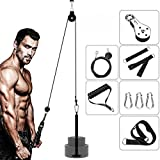 DIY Pulley Cable Machine Attachment System, Fitness Cable Pulley System Home Gym Equipment Workout Accessories for Lat Pull Downs, Biceps Curl, Back, Forearm, Tricep Extensions, Tricep Pull Downs