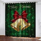 MXYHDZ Cortinas opacas para ventana de dormitorio, campana de Navidad, con aspecto impreso, oscurecimiento de habitación, aislamiento térmico, con ojales, para sala de estar, 200 x 160 cm, 2 paneles