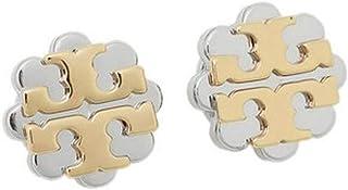 Tory Burch Logo Flower Two-Tone Stud Earrings, Gold / Silver