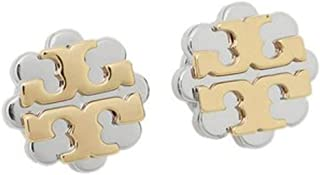 Tory Burch Logo Flower Two-Tone Stud Earrings, Gold / Silver