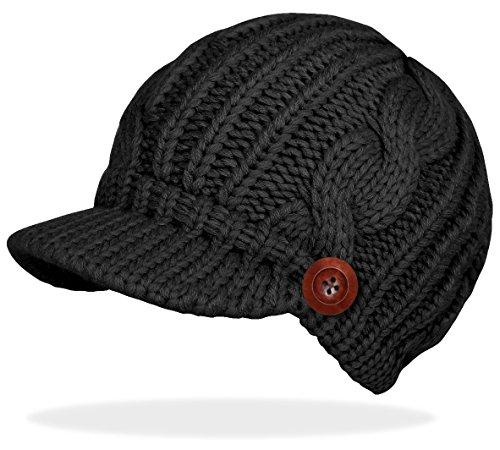 dy_mode Schirmmütze Damen Mütze Strickmütze warme Wintermütze mit Holzknopf in 4 Farben - A080 (A080-Schwarz)